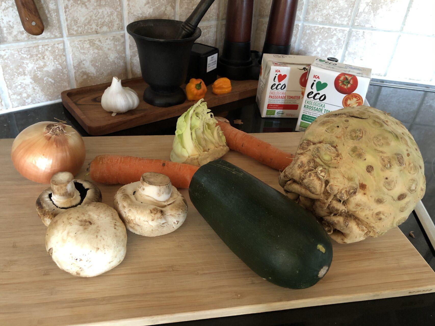 grönsaker till vegetarisk lasagne